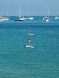 SUP, Paddle surf in the beach. SUP, Paddle surf in the beach with boats in background Royalty Free Stock Photo