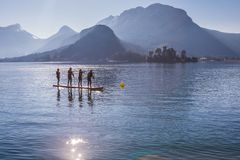 SUP paddling team on the boards. Race on the lake in France. Professional paddle sport race participation stock images
