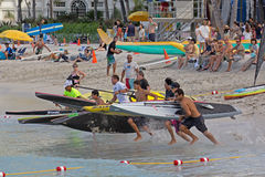 SUP Race. Event: 2012 Duke Kahanamoku OceanFest C$ Waterman Men's Surf SUP Race Stock Images