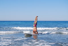 Headstand on SUP Stock Photos