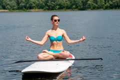 SUP Stand up paddle board woman paddle boarding02 Stock Images