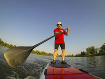 SUP - stand up paddling. Mature male paddler enjoying workout on stand up paddleboard (SUP), calm lake in Colorado, summer, distorted wide angle view Stock Photos