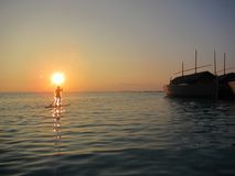 SUP - Stand Up Paddling in the sunset - Maldives Stock Images