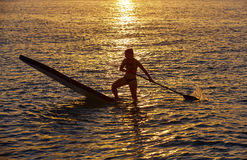 SUP Stand up Surf girl with paddle Stock Photos