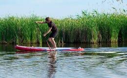 SUP stoi up mężczyzna z paddle 04 Fotografia Royalty Free