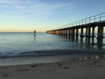 SUP at Sunrise at Dromana Beach royalty free stock photography