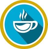 Sup van koffieembleem en malplaatje Stock Afbeelding