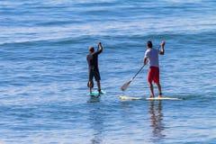 SUP van Surfers Wachten Stock Afbeelding