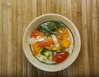 Supa taraneasca. Romanian vegetable soup with noodles Royalty Free Stock Photo