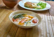 Supa taraneasca. Romanian vegetable soup with noodles Stock Photography
