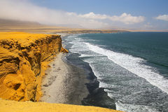 Supay strand i Paracas den nationella reserven, Peru royaltyfri bild