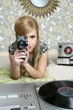 Super 8mm camera retro woman vintage room. Super 8mm camera retro woman vintage wallpaper room Stock Photos