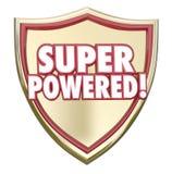 Super Aangedreven de Capaciteits Machtige Kracht van Superhero van Schildwoorden vector illustratie