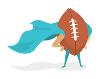 Super american football hero ball with cape Stock Photography