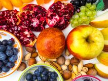 Super antioxidants. superfood. mix of fresh fruits and berries, rich with resveratrol, vitamins, raw food ingredients. nutrition. Background, food for brain royalty free stock images