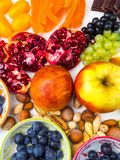 Super antioxidants. superfood. mix of fresh fruits and berries, rich with resveratrol, vitamins, raw food ingredients. nutrition. Background, food for brain stock photo