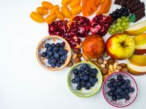 Super antioxidants. superfood. mix of fresh fruits and berries, rich with resveratrol, vitamins, raw food ingredients. nutrition. Background, food for brain royalty free stock image