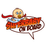 Super baby on board Superhero logo Royalty Free Stock Photography