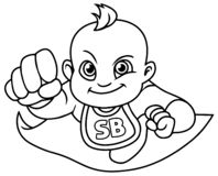 Super Baby Flying Line Art vector illustration