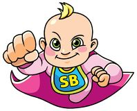 Super Baby Girl Flying Royalty Free Stock Photo