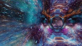A super beautiful wormhole with stars and nebula flying through