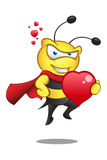 Super Bee - Holding A Big Heart Royalty Free Stock Images