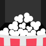 Super Big Popcorn Icon. Red White Strip Box. Movie theater Cinema screen in flat design style. Black background. Vector illustration Royalty Free Stock Photography