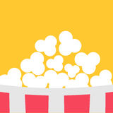 Super Big Popcorn Red White Strip Box. Cinema icon in flat design style. Yellow background. Vector illustration Royalty Free Stock Photo