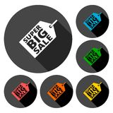 Super Big Sale icons set with long shadow. Vector icon Royalty Free Stock Photos