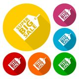 Super Big Sale icons set with long shadow stock illustration