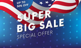 Super big sale. Up to fifty percent off. Vector illustration. Super big sale banner. USA flag. Special offer. Up to fifty percent off. USA flag background with Stock Images
