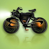Super Bike. Conceptual futuristic super-bike with streamlined form and headlight, illustration over green background with beautiful bottom reflection Stock Images