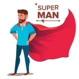 Super biznesmena charakteru wektor Pomyślna bohatera biznesmena pozycja Młody Fachowy sprzedawca, programista ilustracji