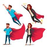 Super Biznesowej kobiety charakteru wektor Czerwony przylądek Przywódctwo pojęcie Kreatywnie Nowożytna Biznesowa Super kobieta Bi royalty ilustracja