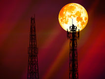 Super blood moon back shadow signal pillar Royalty Free Stock Photography