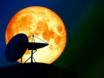 super blood moon over silhouette satellite dish night sky Stock Photos