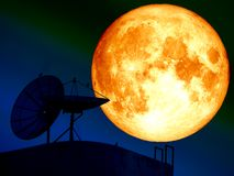 super blood moon and silhouette satellite dish bird Royalty Free Stock Photography