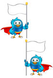 Super Blue Bird - Holding Flag Royalty Free Stock Photography