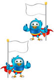 Super Blue Bird - Holding Flag & Giving A Thumbs Up. A cartoon blue bird Illustration Stock Images