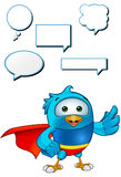 Super Blue Bird - Presenting. A cartoon blue bird with 5 speech bubbles Royalty Free Stock Image