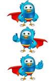 Super Blue Bird - Set 1. A set of cartoon blue bird Illustrations Royalty Free Stock Photos