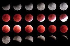 Super blue blood moon timeline collection. Captured in Bangkok composed of several photos depicting royalty free stock photography