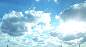 Super blue sky. A beautiful and cheerful sky with clouds royalty free stock photography