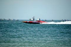 Super Boat Offshore Races (Lucas Oil). CLEARWATER, FL/USA - SEPTEMBER 28:  Super boat Lucas Oil taking a warmup run prior to competing in an offshore race on Stock Image