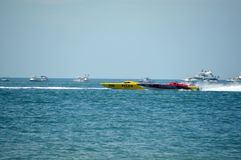 Super Boat Offshore Races (Pilar vs Twisted Metal). This is a photo of super boat Pilar vs Twisted Metal in an offshore race Royalty Free Stock Photography