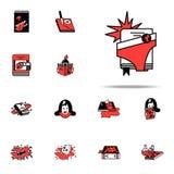 Super bohater, komiczki ikona Literackich gatunków ikon ogólnoludzki ustawiający dla sieci i wiszącej ozdoby ilustracja wektor
