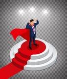 Super bohatera biznesmena stojaki na round podium z czerwonym chodnikiem Nagradza? ceremoni? Ilustracja Wektorowa Ilustracja ilustracji