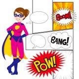 Super bohatera kobieta Kasetonuje komiczkę ilustracja wektor