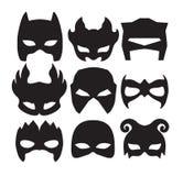 Super bohatera maski dla twarz charakteru w czerni Sylwetki maska na bielu Obrazy Royalty Free