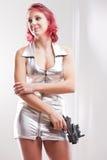 Super bohatera przestrzeni rocznika kostiumu dziewczyna Zdjęcia Stock
